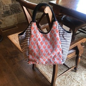 Stella & Dot Dune Tote In Navy & Coral